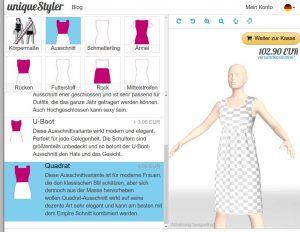 Empire Kleid mit Quadrat-Ausschnitt